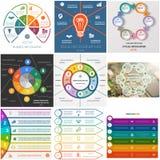 设置六个位置的9个模板Infographics循环过程 库存照片