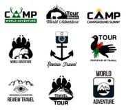 设置冒险和旅游业商标,贴纸 免版税库存照片