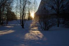 设置冬天太阳的光芒 库存图片