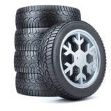 设置冬天轮胎,雪花形状外缘  向量例证