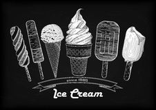 设置冰淇凌软的服务瓢,奶蛋烘饼杯子,鲜美冰淇凌 皇族释放例证