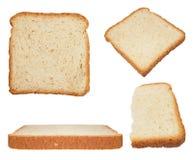 设置切的面包被隔绝在白色 图库摄影