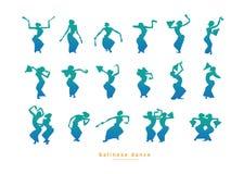 设置剪影女孩跳舞 免版税库存图片