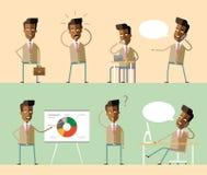 设置办公室字符 非裔美国人的经理 库存图片