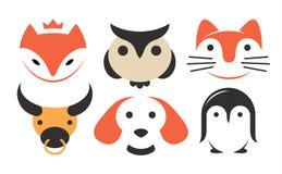 设置动物平的商标-导航例证,在白色背景的象征 库存例证