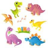 设置动画片恐龙 dino 库存例证