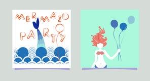 设置动画片有气球的美人鱼女孩 题字美人鱼党 有头发印刷品卡片的夏时警报器集会 库存例证