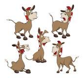 设置动画片例证 逗人喜爱的驴 背景漫画人物厚颜无耻的逗人喜爱的狗愉快的题头查出微笑白色 库存图片