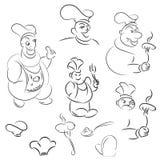设置动画片厨师 菜单的动画片 滑稽的外形图 库存例证