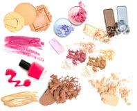 设置化妆产品孤立 组成产品 免版税库存图片