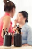 设置化妆师的构成刷子 免版税库存照片