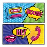 设置卡式磁带和嘴与电话和流行艺术消息 库存例证