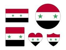 设置叙利亚的旗子 向量例证