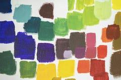 设置另外明亮的油漆飞溅在白色调色板,生活所有场合的抽象五颜六色的背景  库存图片