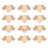 设置可爱的女孩面部情感 用不同的表示的女孩面孔 向量例证