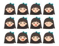 设置可爱的女孩面部情感 用不同的表示的女孩面孔 女小学生画象具体化 情感青少年品种  向量例证