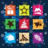 设置向量圣诞节图标,无缝的背景 库存照片