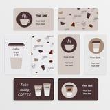设置咖啡名片 免版税库存照片