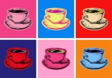 设置咖啡杯传染媒介例证流行艺术样式 向量例证