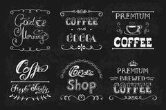 设置咖啡标签或横幅 库存例证