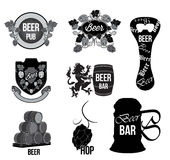 设置啤酒商标,标签,徽章 库存图片