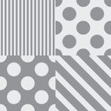 设置四个传染媒介无缝的样式 灰色颜色 向量例证