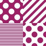 设置四个传染媒介无缝的样式 白色和紫色颜色 向量例证