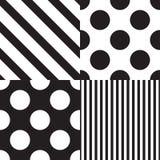 设置四个传染媒介无缝的样式 黑白颜色 向量例证