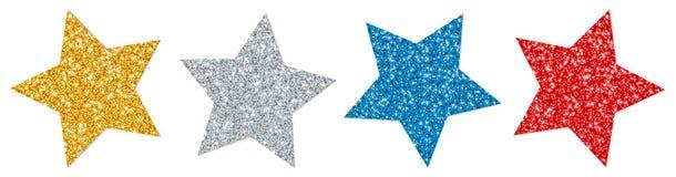 设置四个扭转的星闪耀的金银色红色蓝色 向量例证