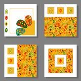 设置四张明亮的传染媒介方形的卡片 皇族释放例证