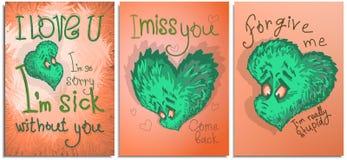 设置图表明信片,海报,为愉快的情人节 颜色明亮的动画片哀伤的心脏 向量例证