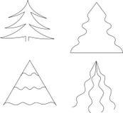 设置圣诞树黑白 库存照片