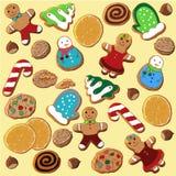 设置圣诞节姜饼,被炮制的桔子,坚果 库存例证