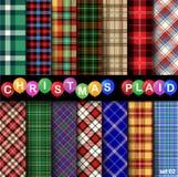 设置圣诞节格子呢无缝的样式 库存照片