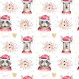 设置圣诞节森林地逗人喜爱的森林动画片鹿和逗人喜爱的浣熊动物字符 花卉冬天套新年 库存照片