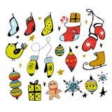 设置圣诞节设计乱画元素 手拉的传染媒介 替换 手套,房子,雪花,礼物,袜子 向量例证