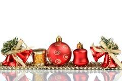 设置圣诞节贺卡背景,在玻璃,关闭,隔绝在白色背景 图库摄影