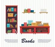 设置在平的设计样式的书象 免版税库存图片