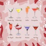 设置在抽象桃红色背景的经典鸡尾酒 新酒吧酒精饮料菜单 传染媒介剪影例证汇集 手 向量例证