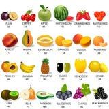 设置在果子的金额卡路里在白色 免版税图库摄影