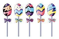 设置在样式kawaii的逗人喜爱的蛋形糖果 明亮的多色和滑稽的动画片下落 向量例证