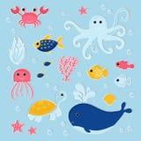 设置在现代平的样式的海洋动物 库存例证