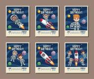 设置在生日孩子党邀请卡片 库存例证