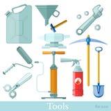 设置在白色的工具和设备平的象 台板,剪刀,铁砧,罐,漏斗,镐,铁锹,泵浦,板钳 向量例证