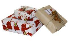 设置在白色背景的圣诞节礼物 免版税库存图片