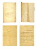 设置在白色背景的老古老被弄皱的纸 库存图片