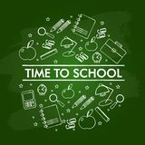 设置在绿色黑板的学校元素 库存例证