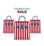 设置在美国爱国颜色的购物袋Sa Day总统的 库存照片