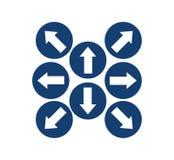 设置在蓝色圈子的箭头 向量例证