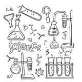 设置在黑白被概述的乱画样式的实验室设备 手拉的幼稚化学和科学象集合 皇族释放例证
